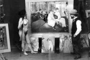ο Toulouse-Lautrec στο ατελιέ του με γυμνό μοντέλο ( φωτο-Maurice Guibert)