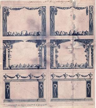 """Φωτογραφικό αντίγραφο των ετικετών φαρμακείου μέσω της άμεσης επαφής με φωτοευαίσθητο χαρτί υπό την επίδραση του ηλιακού φωτός, περ 1833. Στο κάτω αριστερό περιθώριο διαβάζουμε (αντίστροφα): """"Φωτογραφία από τον H. Florence, εφευρέτης της φωτογραφίας."""""""