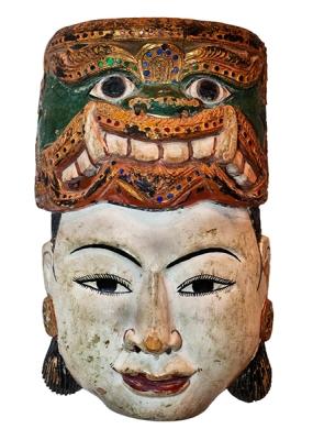 """μάσκα από τη Βιρμανία αποκαλούμενη """"η φύση του ανθρώπου"""" : έχει τον δαίμονα στο κεφάλι του αλλά καταφέρνει να είναι άνθρωπος"""