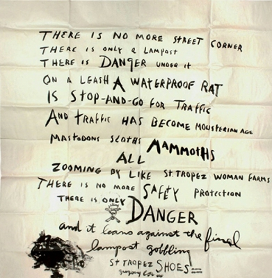 ένα αυτοσχέδιο ιδιόχειρο ποίημα του Gregory Corso συνταγμένο στο στούντιο του Jean-Jacques Lebel, στη Βενετία τον Ιούλιο του 1960. © Archives J.-J. Lebel