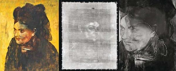 """Το """"πορτραίτο γυναίκας"""" όπως φαίνεται σήμερα. Στη μέση το κρυμμένο πορτραίτο περιστραμμένο 180 μοίρες, το οποίο μόλις διακρίνεται χρησιμοποιώντας τις κλασσικές ακτίνες Χ, και δεξιά εικόνα ανακλώμενων υπερύθρων με τις οποίες είναι δυνατόν να γίνει ένα -μερικό- περίγραμμα του προσώπου της κρυμμένης εικόνας, που υποδεικνύεται από μια διακεκομμένη γραμμή."""