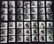 *13-μεγεθυμένο φύλλο κοντάκτ δυο ανδρών που παλεύουν, New York, from the studio of Francis Bacon, circa 1975. Photograph: Michael Hoppen Gallery
