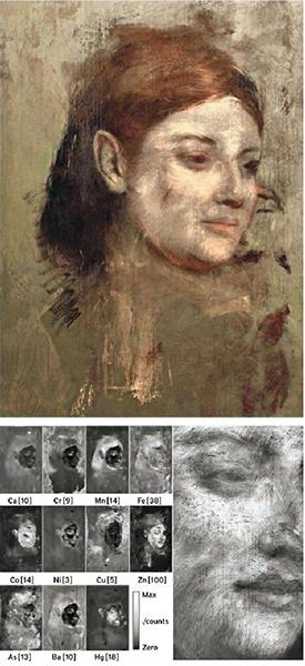 η διαδικασία αναδημιουργίας των χρωμάτων του καλυμμένου πορτραίτου σύμφωνα με τα ανιχνευθέντα στοιχεία των χρωστικών του υποστρώματος. φωτογραφία: National Gallery of Victoriathe Australian Synchrotron