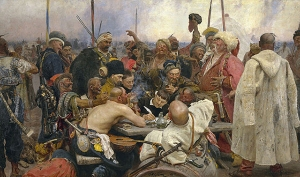 """Ilya Repin -""""Κοζάκοι Ζαπορόζτσι απαντούν σε επιστολή του Τούρκου Σουλτάνου"""""""