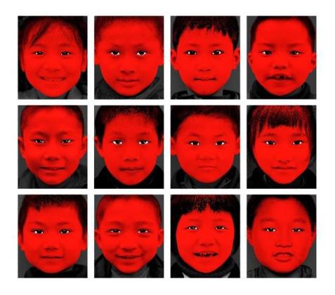 © wang xiaohui (china), red child no. 1/2/4/7/9/11/14/16/20/21/23/30, 2007