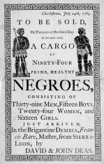 πλειστηριασμός σκλάβων Νότια Καρολίνα 1769