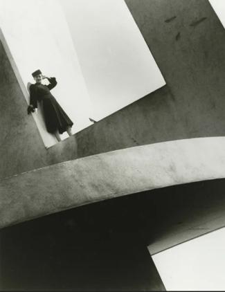 Martin Munkacsi, Woman on Electrical Productions Building, New York World's Fair, 1938, © Estate of Martin Munkácsi