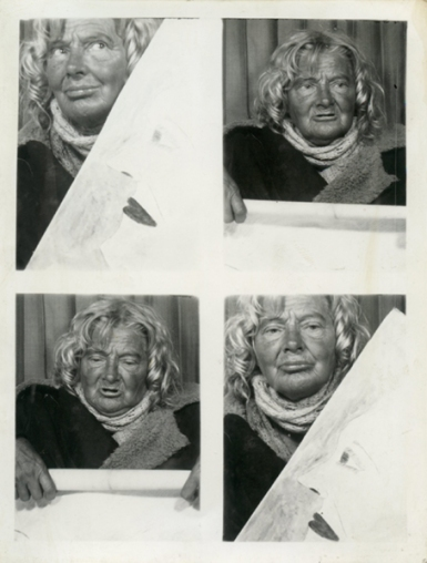 Lee Godie (1908, Chicago, Illinois — 1994, Plato Center, Illinois; Untitled; c. 1980, (from photo booth) Collection John and Teenuh Foster; Photo courtesy John and Teenuh Foster. 